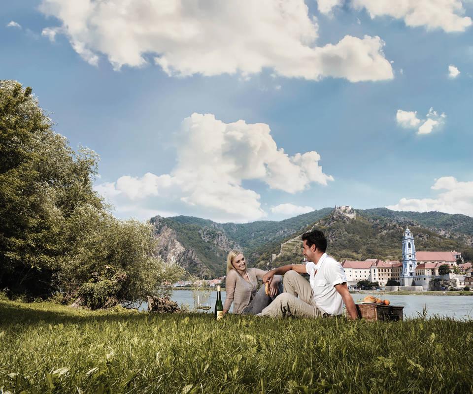 Picknick gegenüber von Dürnstein