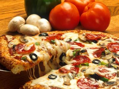 Pizza in der Pizzeria Rialto
