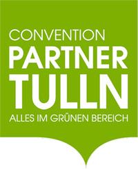 Logo Convention Partner Tulln. Eine grüne Akkolade mit weißer Schrift