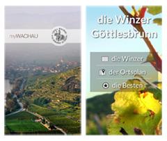 Apps zum Thema Wein in der Wachau sowie Göttlesbrunn, Carnuntum