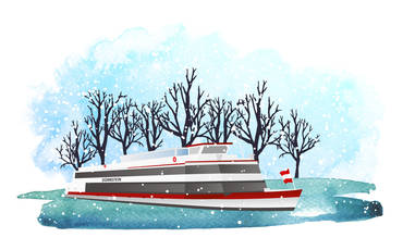 Winterillustration der MS Dürnstein